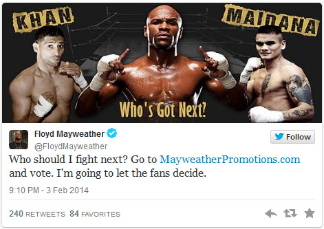 Money Mayweather…asks the fans